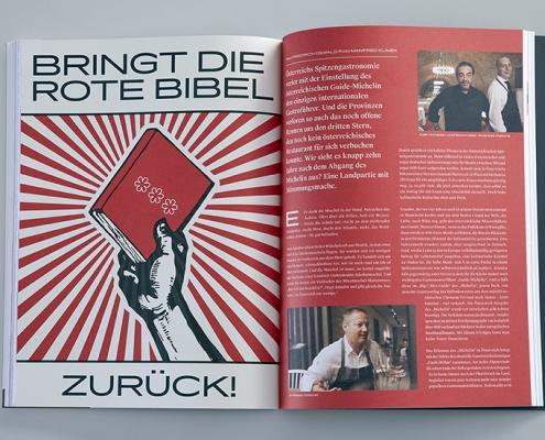 Magazinseite innen bringt die rote Bibel zurück